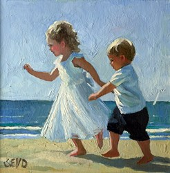 Beach Play by Sherree Valentine Daines - Original Painting on Board sized 8x8 inches. Available from Whitewall Galleries